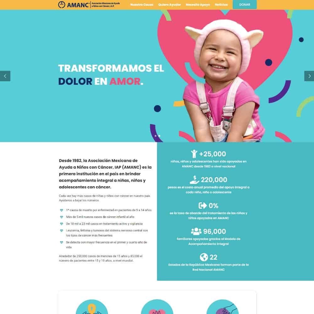 Sitio web para la Asociación Mexicana de Ayuda a Niños con Cáncer I.A.P.